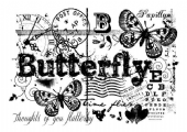 Woodware - Butterfly Collage - Clear Magic Stamp Set - FRS664